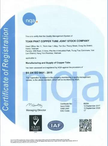 Chứng nhận tiêu chuẩn ISO của ống đồng Toàn Phát