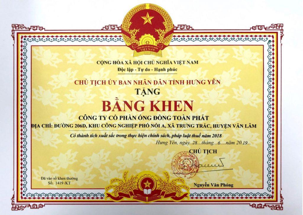 Bang khen tinh Hung Yen ve THUE